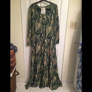 Diane Von Furstenberg Green & Ivory Maxi Dress 12